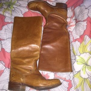 Frye chestnut brown heeled boots 6.5 6 1/2 FALL